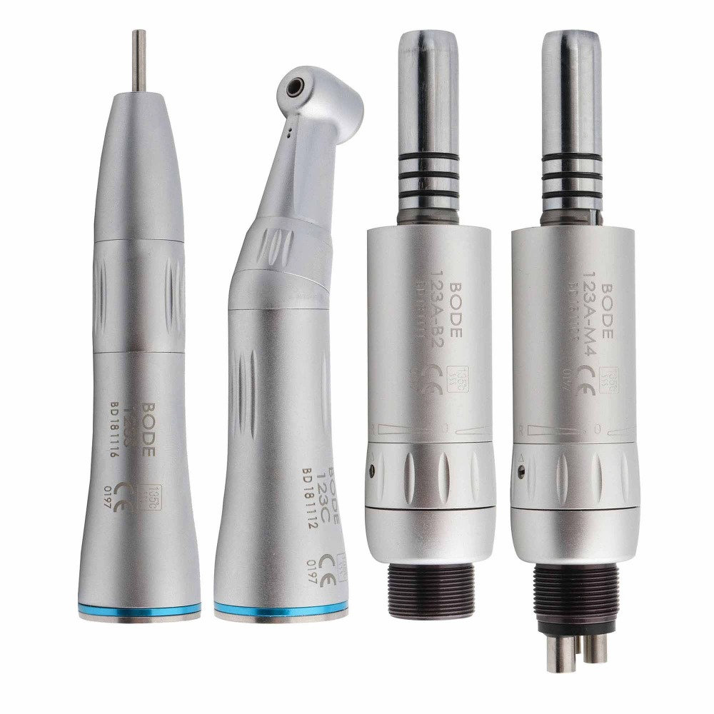 Dental Low Speed Handpiece Kit Air Turbine Straight Contra Angle Air Motor Inner Water Spray 2/4Holes Available BODETeeth Whitening   -