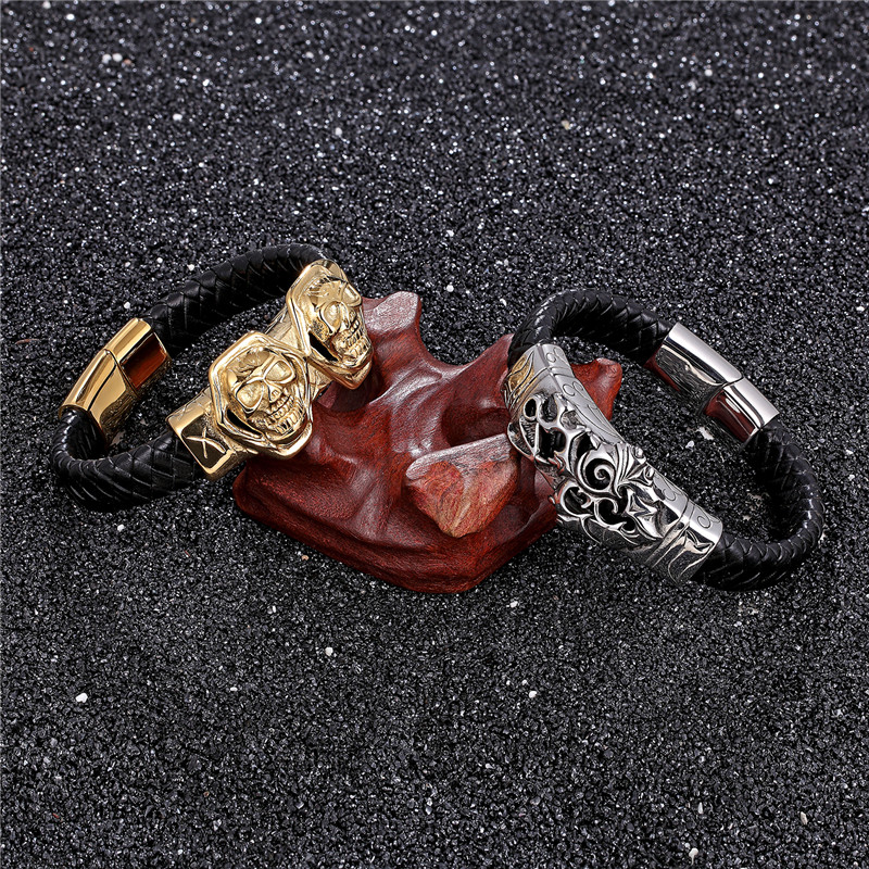 2019 New Punk Stainless Steel Genuine Leather Bracelet Men Gold Lion Wristband Charm Bracelets Bangles Luxury Jewelry Pulseras