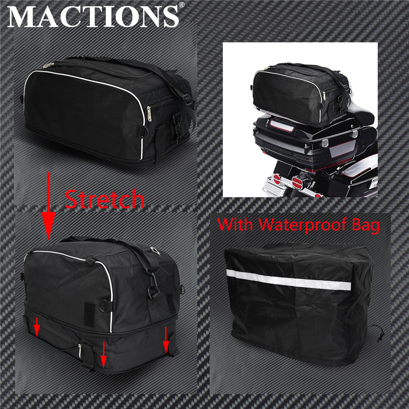 MACTIONS Collapsible Luggage Rack Bag Tour Bag W/ Waterproof Bag For Harley Touring Street Road Electra Glide Road King 94-2019