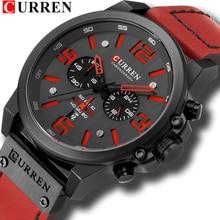 Reloj Hombre 2018 Casual Datum Quartz Horloges Voor Mannen Curren Fashion Lederen Sport Mannen Wrsitwatch Chronograaf Mannelijke Horloge