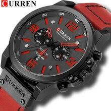 Reloj Hombre Casual Quartz Watches For Men CURREN Fashion Red Leather Sports Men Wristwatch Chronograph Male Watch Drop shipping