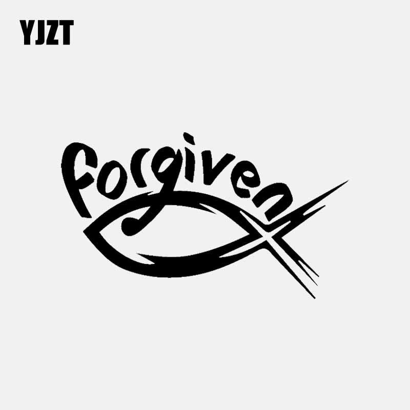YJZT 13.6CM*8CM Religion Forgiven Fish Faith Christian Jesus Catholic Vinyl Decal Car Sticker Black/Silver C3-1390