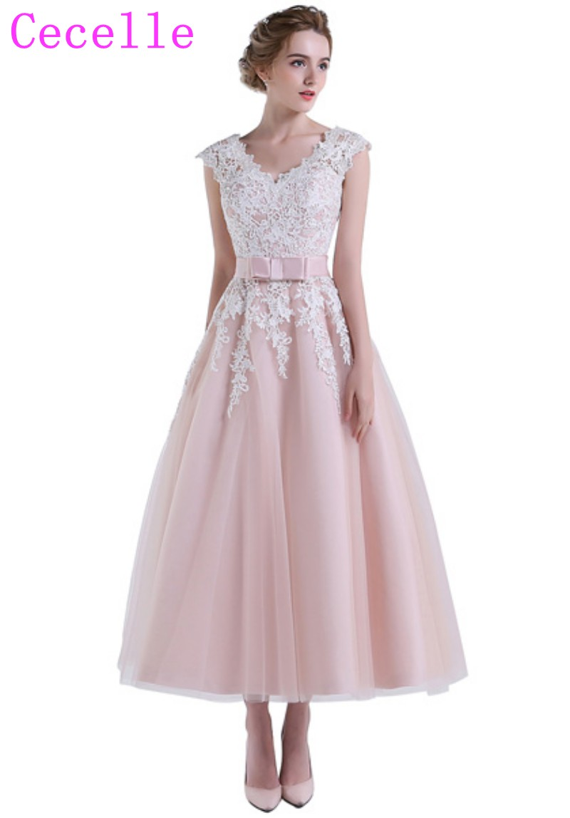 2019 New Informal Blushing Vintage Short Wedding Dresses Lace Tulle Tea  length Country Western Bridal Gowns Custom Made 934d803925ed