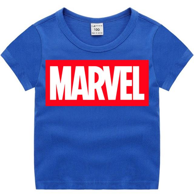 Boy and Girl Marvel Fashion Print Cotton T-shirts Kid's Short Sleeve Soft Black Tee Tops Baby Brand Clothes Boys Christmas Shirt