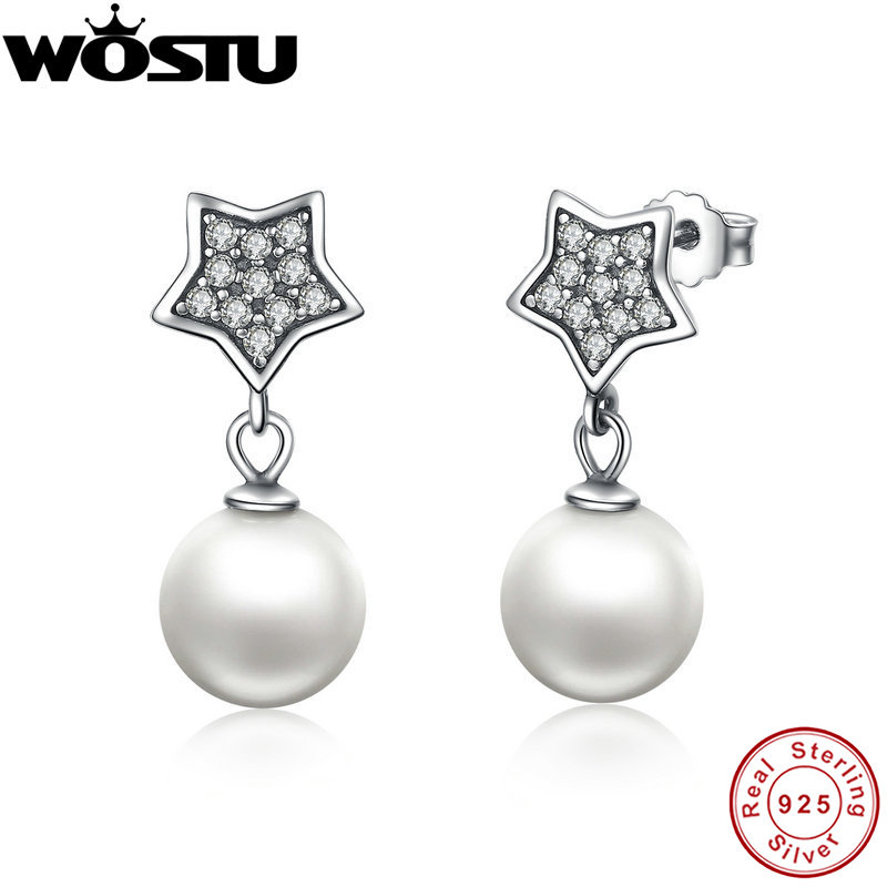 100% Authentic 925 Sterling Silver Star Drop Earrings With Clear CZ & Pearl For Women Luxury European Jewelry CQE004