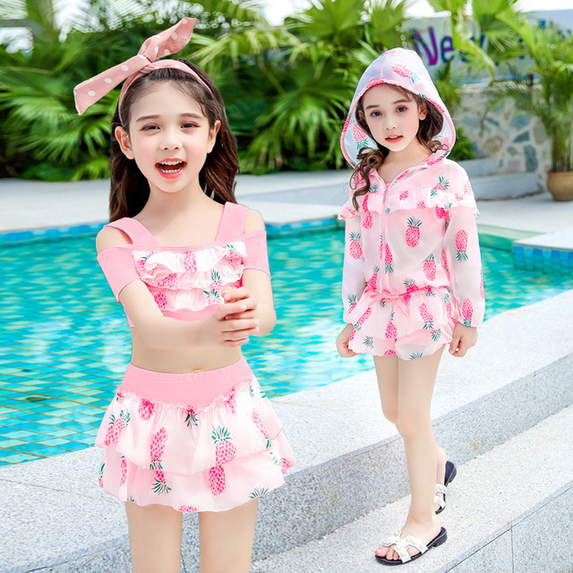 Girls'Swimming Swim Suit Separated Comfortable And Cute Children's Sunscreen Flat Corner Swimming Suit A2171YPC