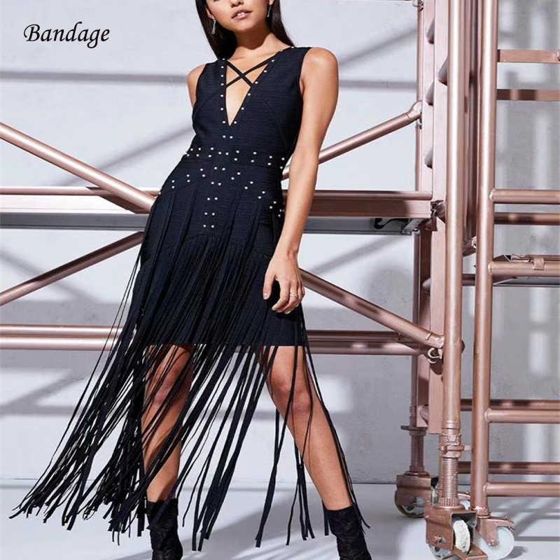 2018 New Dress Black V Neck Tassel Fashion Sexy Celebrity Cocktail Party  Bandage Long Dresses With e0beedb347e5