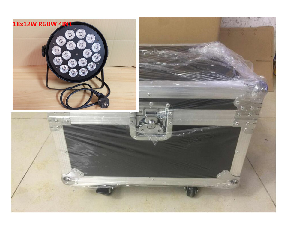 4pcs18x12W + Flight case luce par del led RGBW 4in1 Led Par Luce DMX Stage Lights ...
