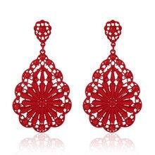 Luxury Women Girl Vintage Hollow Floral Crystal Dangle Earrings brinco preto joias sobretudo feminino Jewelry Party