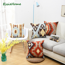 Chain embroidery 18 high end kilim pattern cushion pillow red blue throw  canvas