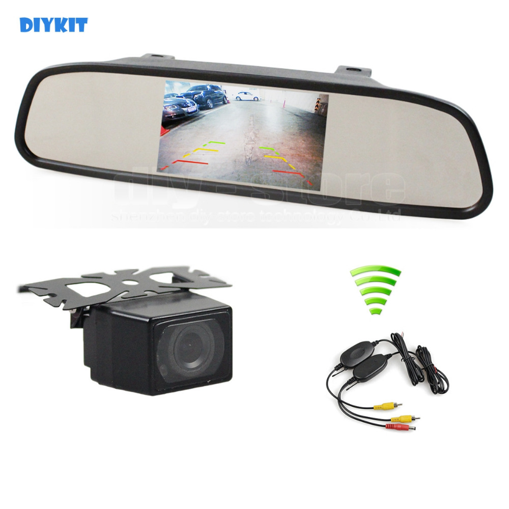DIYKIT Wireless 4.3 Inch Car Monitor Mirror Monitor + Waterproof IR Night Vision Rear View Car Camera Parking Accessories Cam