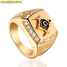 HUAIBEISHIPIN New Brand 24k Gold  Classic Men's Punk Style Masonic Ring  Hip Hop Iced Out Bling Rings Fashion Jewelry Wholesale