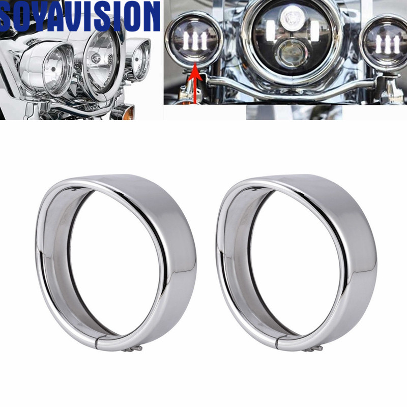 Bikers Choice 4.5 inch Auxiliary Lamp Visor Style Passing Lamp Trim Ring For Motorcycle Accessories 4 1/2 inch Visor Style harley davidson headlight price
