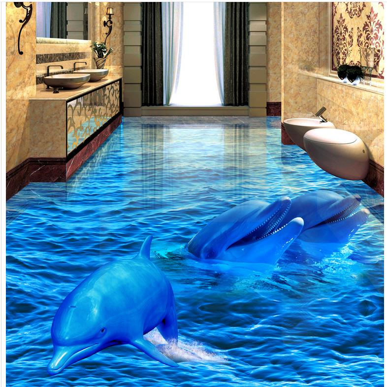buy 3d pvc floor wallpaper dolphin sea world 3d bathroom living room floor. Black Bedroom Furniture Sets. Home Design Ideas