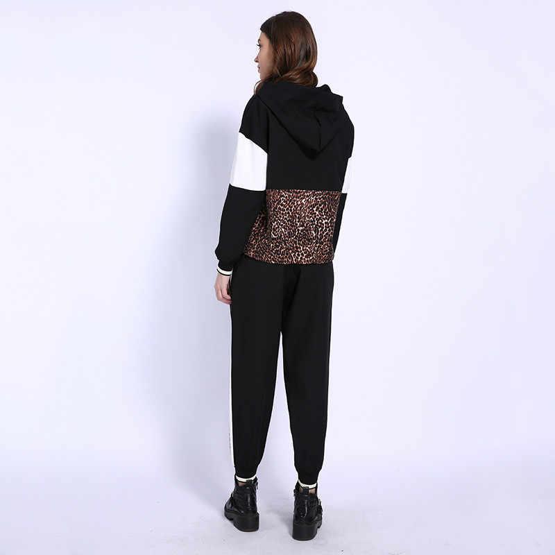 Nueva llegada de GCAROL conjunto de 2 piezas de otoño para mujer, sudadera con empalme de leopardo, pantalones de daño hasta el tobillo, chándales para mujer, sudaderas con capucha