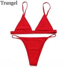 Sexy 2016 Women Bikini Swimwear Solid Black Red Pink Swimsuit Brazilain Bikini Cheeky Swim Suit Summer Maillot De Bain 24