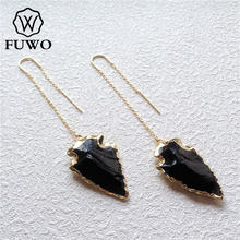 FUWO Black Tourmaline Arrowhead Earrings With Gold Brass Plated Minimalist Design Natural Crystay Jewelry For Women ER019