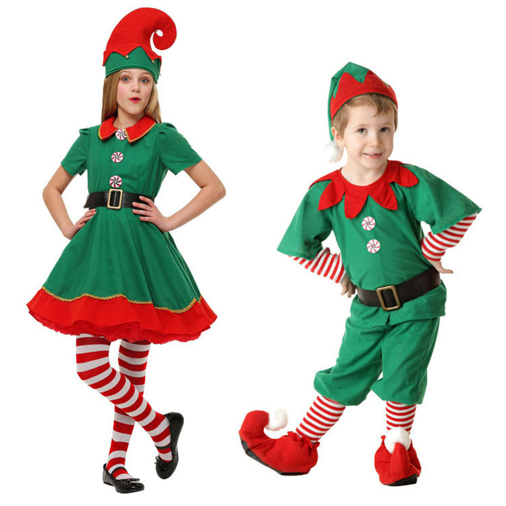 New Boy Girl Elf Costume Kids Adults Family Green Elf Cosplay New Year Costumes Gift Carnival Party Purim Halloween Christmas