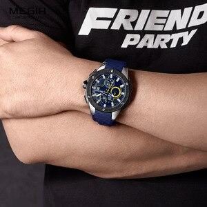 Image 5 - MEGIR erkek spor Chronograph kuvars saatler silikon kayış aydınlık su geçirmez ordu askeri kol saati adam Relogios 2053 mavi