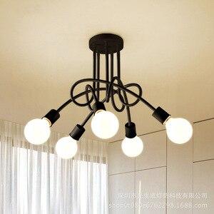 Image 3 - 現代の天井照明リビングルームベッドルームダイニングルームランプ北欧シンプルなスタイル鉄金属スプレー塗装工程黒、白、赤
