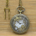 Retro Design Hollow Gear Fob Watchdes Men Vintage Bronze Pocket Watch Necklace Women Chain Pendant Gift Relogio De Bilso Bronze