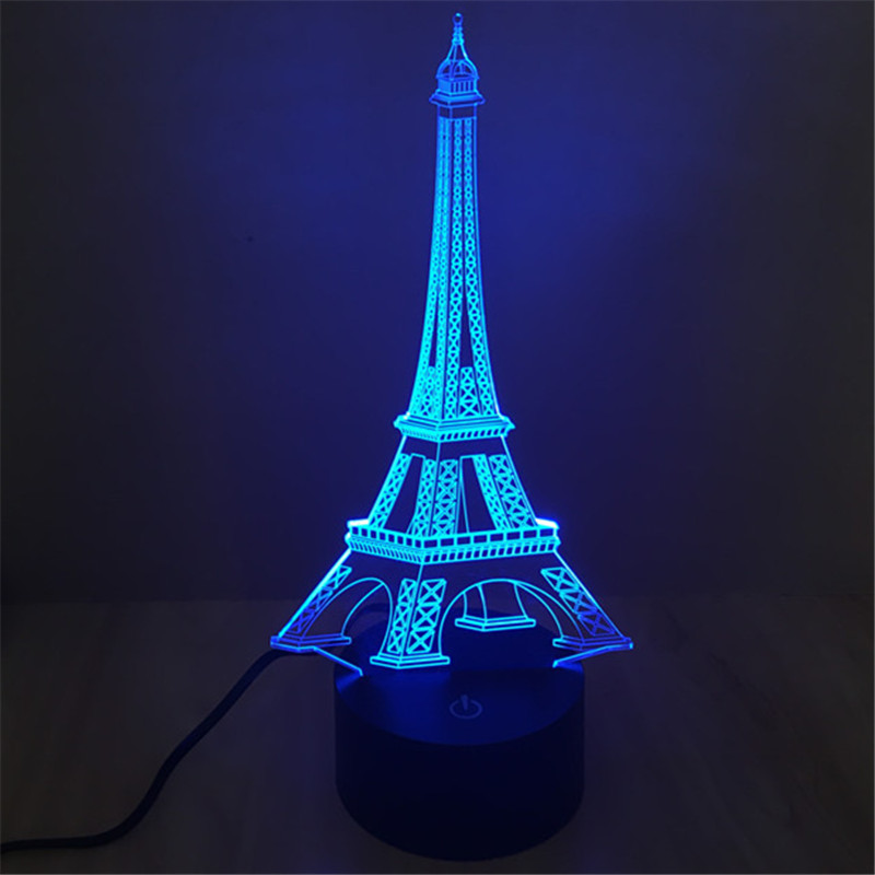 AUCD LED Acrylic 7 Color Home Decoration Eiffel Tower Night Light 2017 USB Office Deskto ...