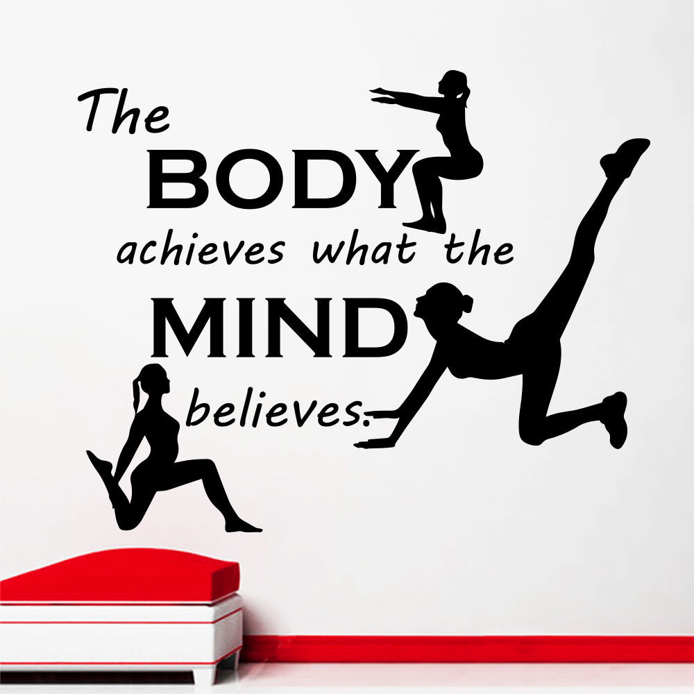 Fitness Wall Sticker Quotes The Body Achieves What Sport