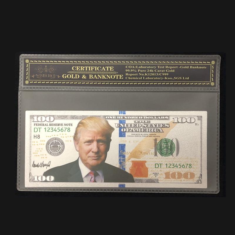 Novos produtos para a cédula de prata americana trump 100 dólar em 24k prata chapeada com quadro coa para a coleção