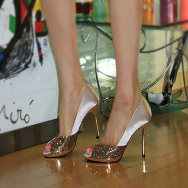 Bridal High Heeled Shoes Womenu0027s Wedding Shoes Champagne Color Bridal Dress  Shoes Glitter Prom Shoes