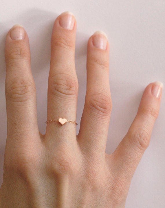Dainty Heart Ring Rose Gold Filled Heart ring Stackable Ring