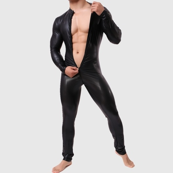 New Cool Sexy Men's One-Piece Skinny Underwear Zipper Piece Suit Leather Bodybuilding Suit Bodysuits Men Undershirt Gay Clothing