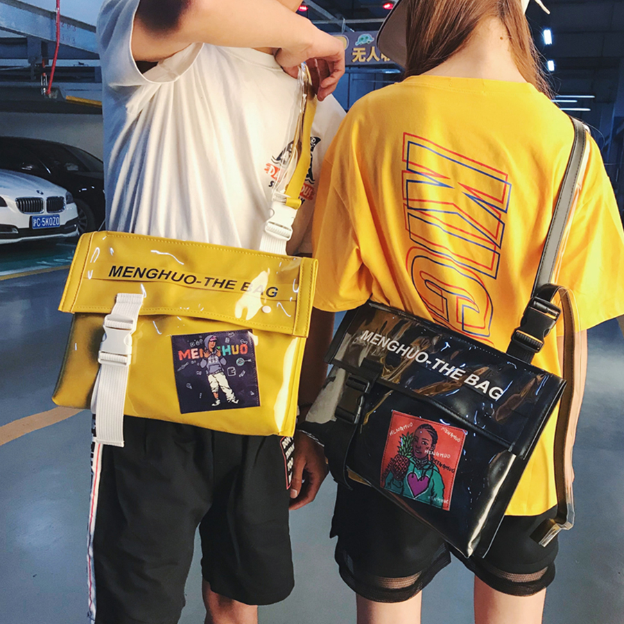INS Harajuku Printing Hip-Hop Messenger Crossbody Bag Women Men Street Graffiti Shoulder School Bags Girls Brands Chic Bolsa PU