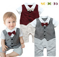 Infant Gentleman Bow Tie Romper Baby Boys Fake Two-piece Red Grey Vest Jumpsuit School Style Clothing Toddler Summer Costume