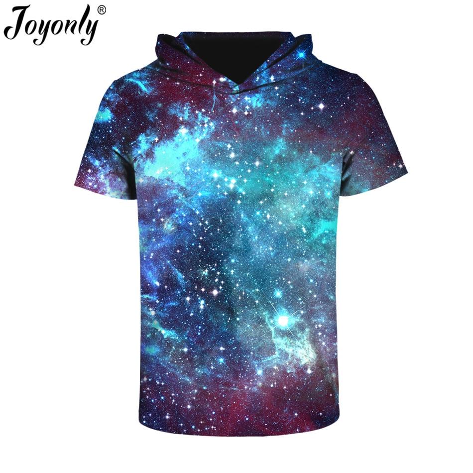 Joyonly 2017 Summer New Blue Galaxy Space Men Women 3D T Shirt With Hat Breathable Print T-shirt Short Sleeve Tee Hipster Tops