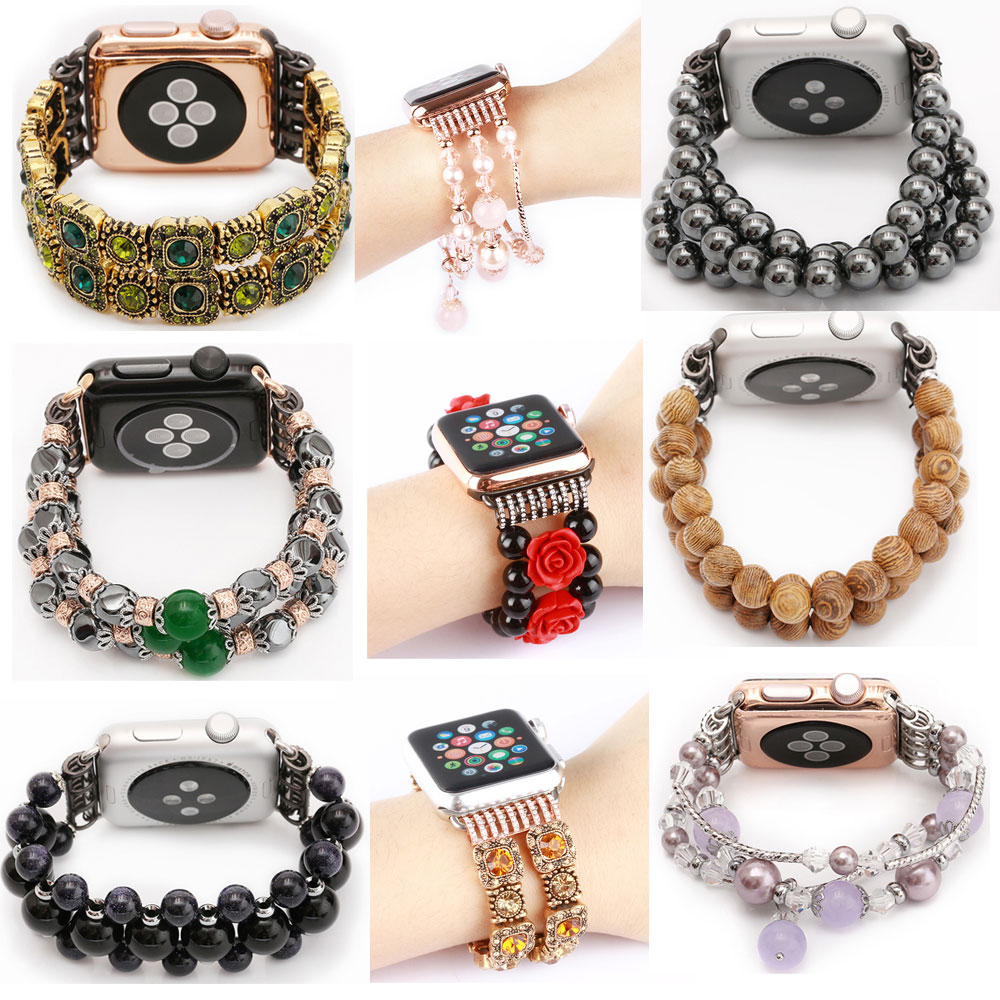 Luksuzni Agate trak za oblikovanje vrvi iz Agate za Apple Watch Band serija 3/2/1 s priključnim adapterjem Woman Fashion Style