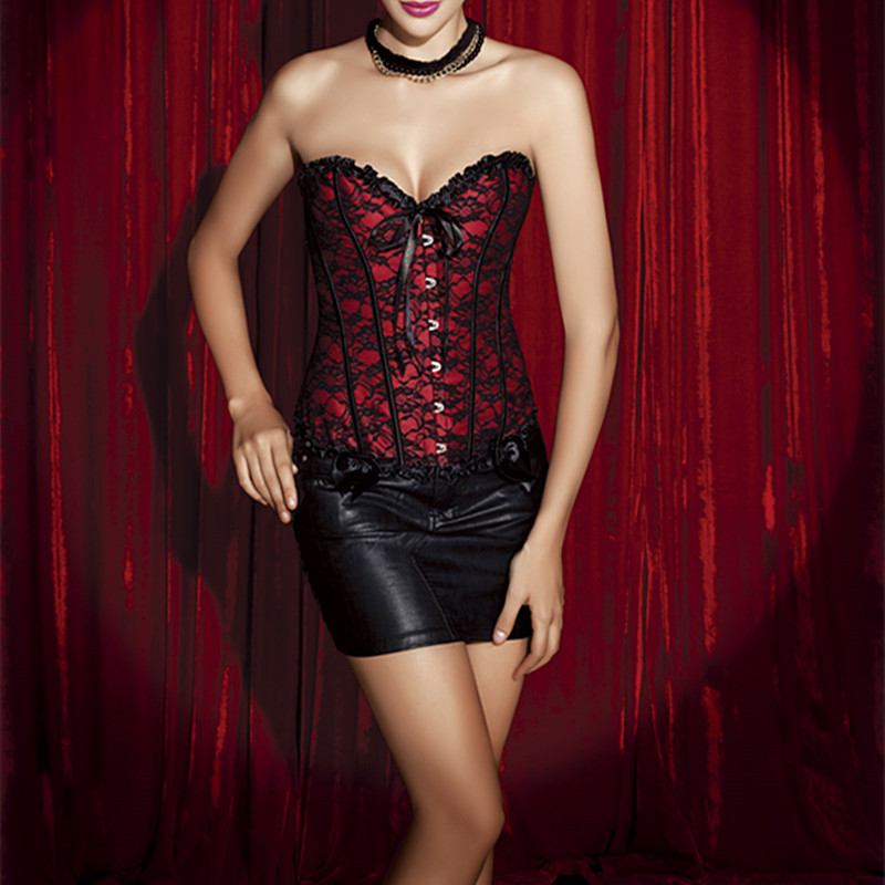 dc65ab03b0 Women Steampunk Clothing Gothic Plus Size Corsets Lace Up Bustier Waist  Cincher Body Shaper Corselet Red Lace Corset With Bow