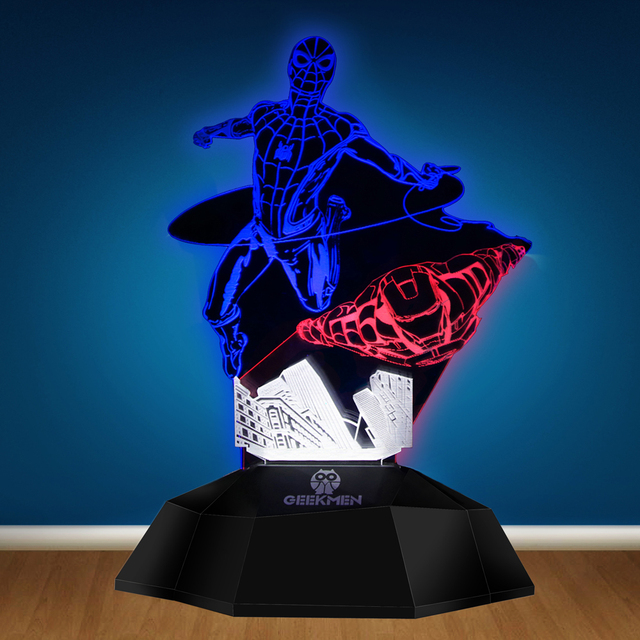 Superhero Homcoming Spiderman Iron Man LED Light 3D Line Lamp Optical Illusion Lamp Lamp Touch Sensor Table Decorative Lights