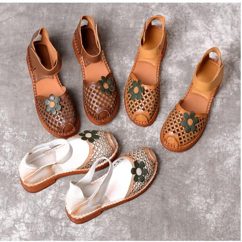 2019 Summer sandals shoes women flat heel Genuine Leather casual sandals hand stitched baotou flat sandals