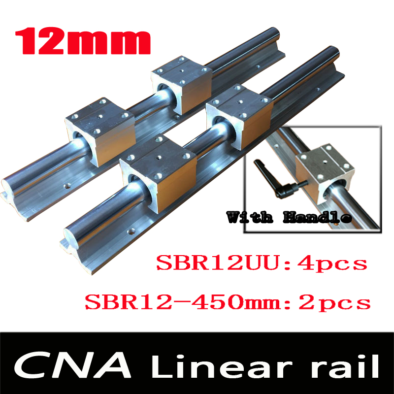 12mm linear rail SBR12 L 450mm support rails 2 pcs + 4 pcs SBR12UU blocks for CNC for 12mm linear shaft support rails цена