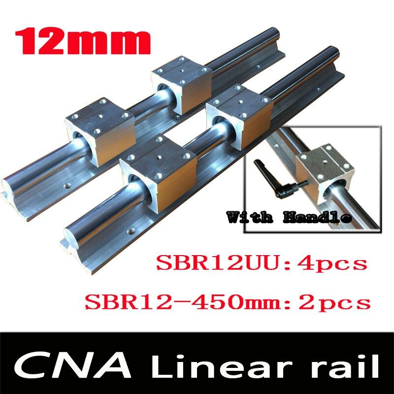 12mm trilho linear trilhos de suporte 2 pcs SBR12 L 450mm + 4 pcs blocos SBR12UU para CNC para 12mm suporte do eixo linear trilhos