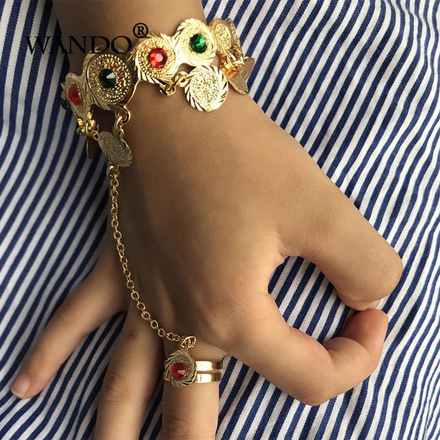 Wando Baby Kids Child Coin Bangle Bracelet Muslim Arab Money Gold Middle Eastern Africa Jewelry Gift Wb115