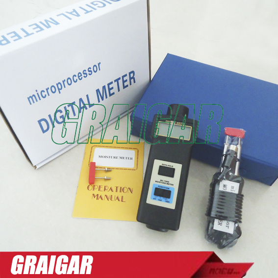 MC-7806 Digital Moisture Meter Tester MC7806 Measurement range moisture content 0-50% mc 7806 wood moisture meter detector tester thermometer paper 50% wood to soil pin