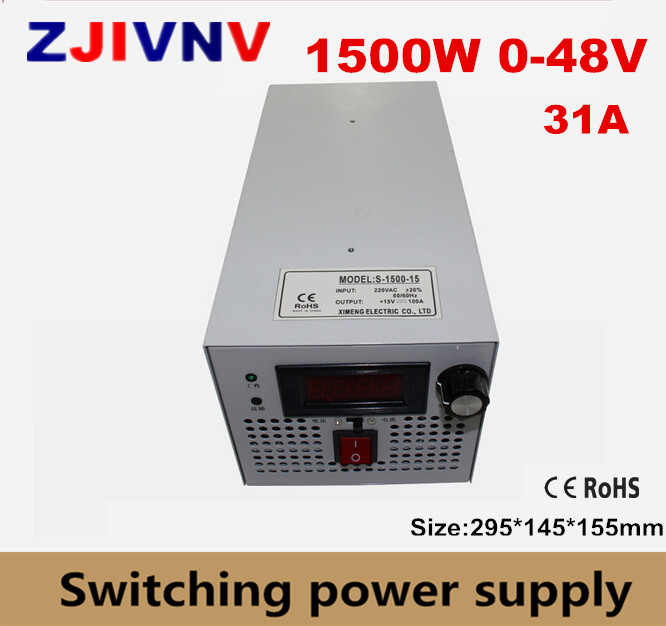 S-1500-48 CE approved SMPS Led adjustable switching power supply 0-48V 31A 1500W 110/220V ac to dc 48vS-1500-48 CE approved SMPS Led adjustable switching power supply 0-48V 31A 1500W 110/220V ac to dc 48v