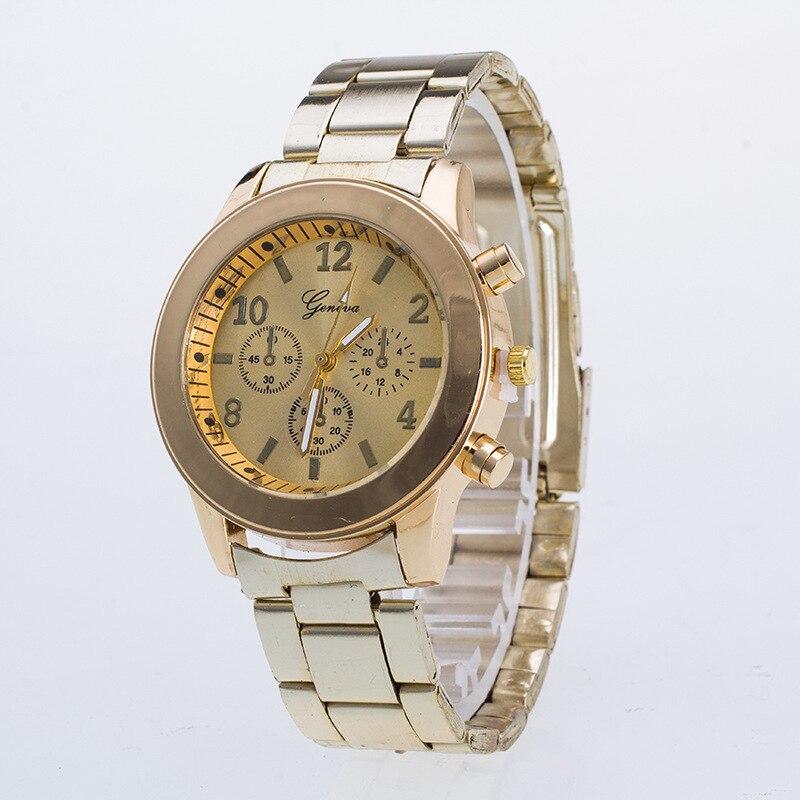 Venda quente Genebra Marca de Moda Banhado A Ouro Assista Mulheres Senhoras Vestido de Quartzo Relógios de Pulso Relojes Mujer G05