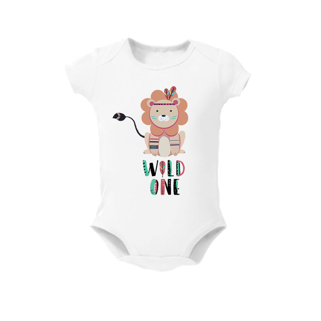 First Birthday Shirt Lion Wild One Short Sleeve Baby Tshirt Tees Infant Cotton Romper Jumpsuit Clothes Outfits