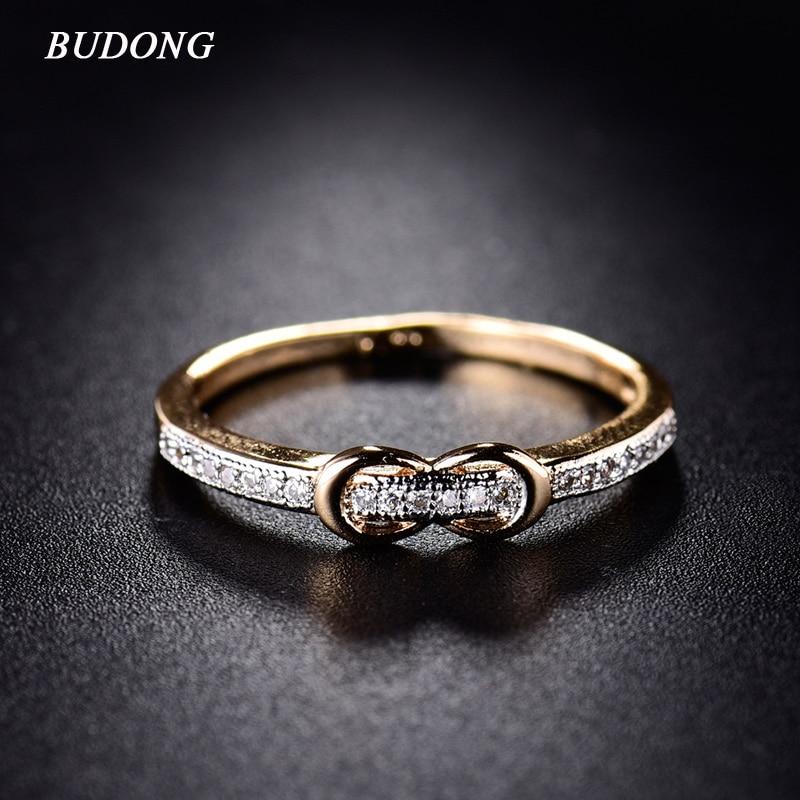 BUDONG Anelli per le donne regalo di san valentino 2017 moda cintura a forma di anello di barretta di colore oro cristallo zirconia gioielli xuR256