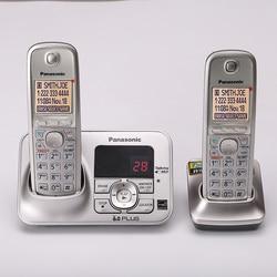 Telefone sem fio digital telefon com interfone correio de voz retroiluminado lcd fixo sem fio para escritório casa bussiness prata