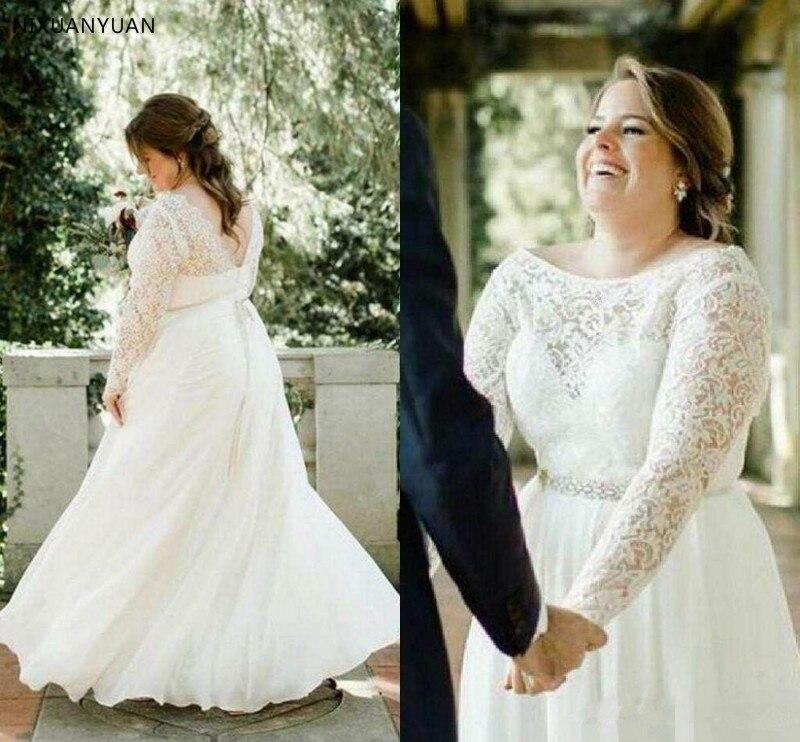 2019 Plus Size Wedding Dress A Line Lace Appliqued Long Sleeves Chiffon Custom Made Sexy Backless Bridal Gown Vestido De Novia