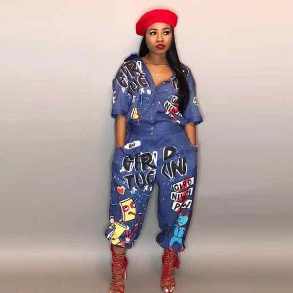 Большого размера, расклешенные длинные штаны с принтом и оборками, длинные джинсы, комбинезон для женщин, короткий рукав карманы, Широкие джинсовые комбинезоны DW494