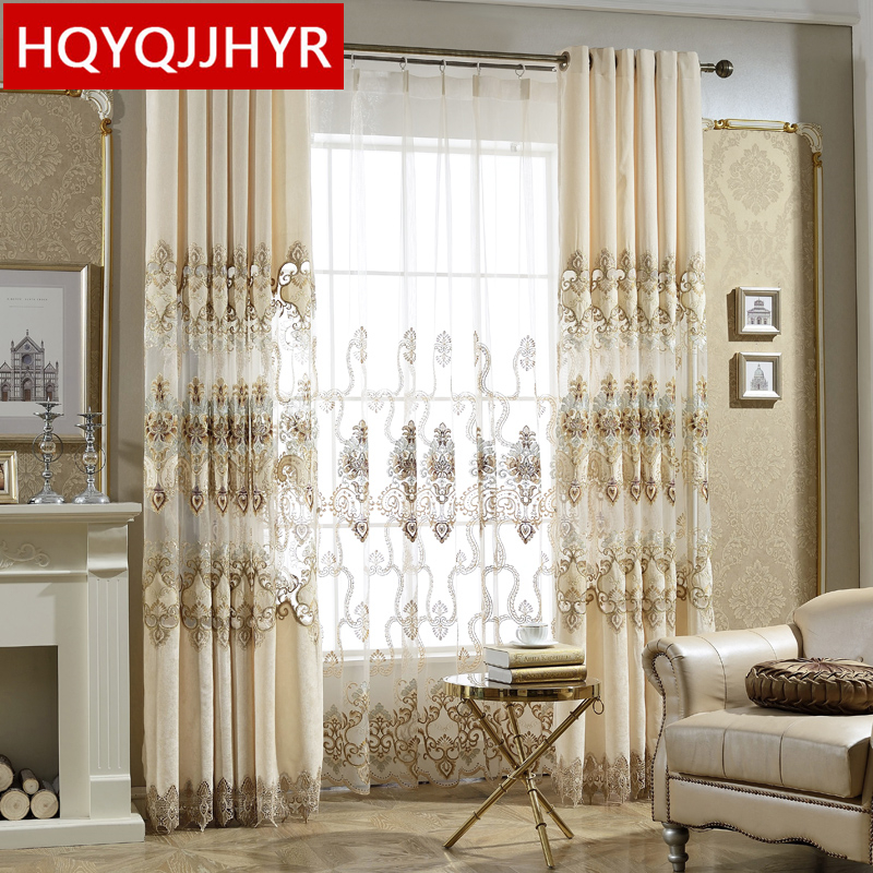 European Royal Classic Embroidery Curtains For Living Room With High-end Custom Voile Curtain For Bedroom/Kitchen Windows